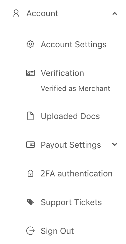 CoinGate Account settings