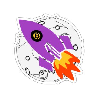Bitcoin Moon Rocket Crypto Stickers