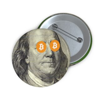 Ben Franklin Bitcoin Pin Button